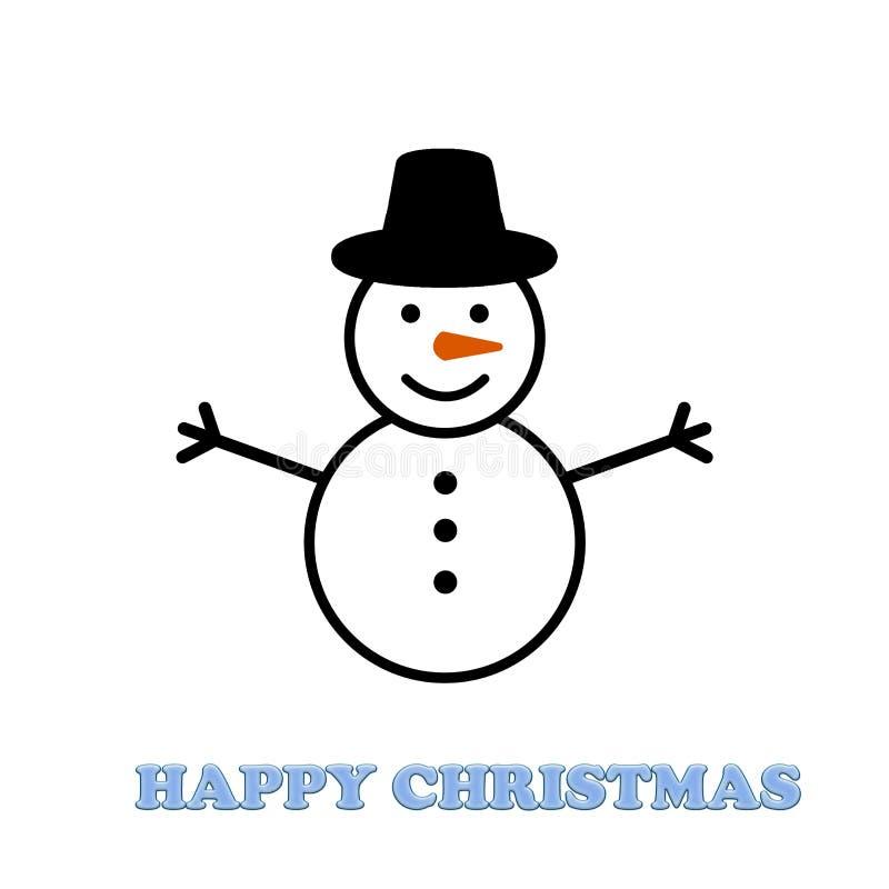 Снеговик нося плоскую крышку на белой предпосылке рождество счастливое иллюстрация штока