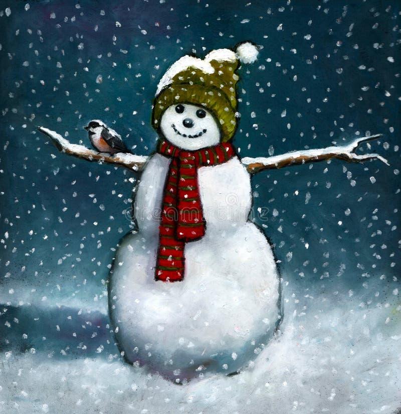 снеговик пастели масла chickadee иллюстрация штока