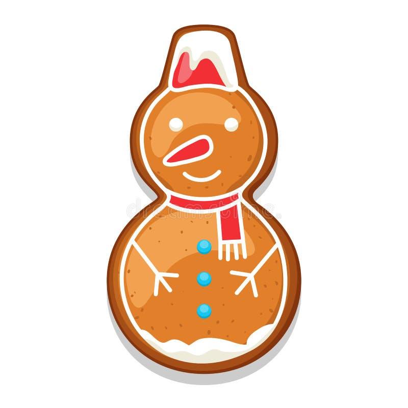 Снеговик печений пряника Иллюстрация с Рождеством Христовым помадок бесплатная иллюстрация