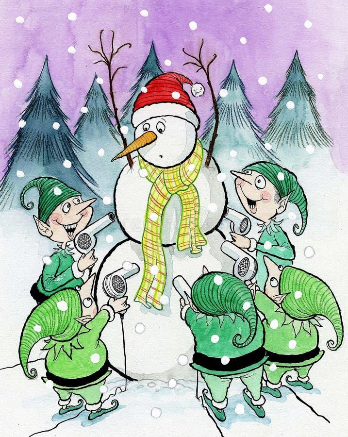 Снеговик потревожился о сушильщиках дуновения, котор держат эльфы иллюстрация вектора