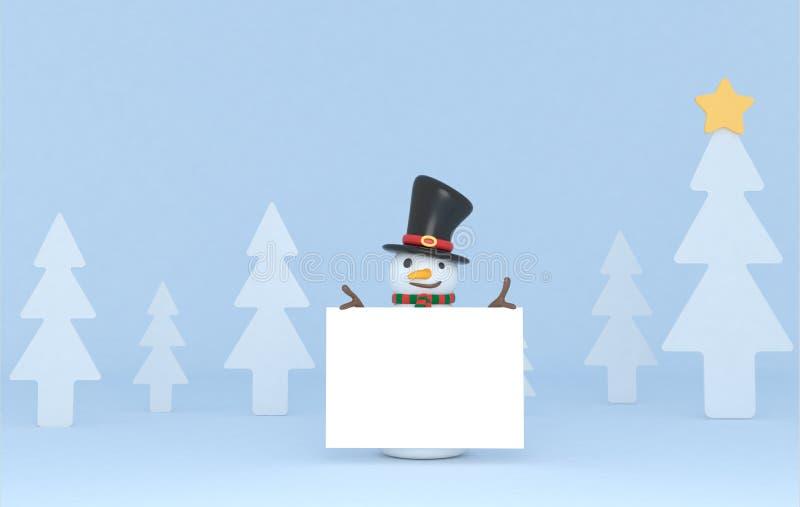 Снеговик проводя белый плакат иллюстрация 3d изолировано иллюстрация штока