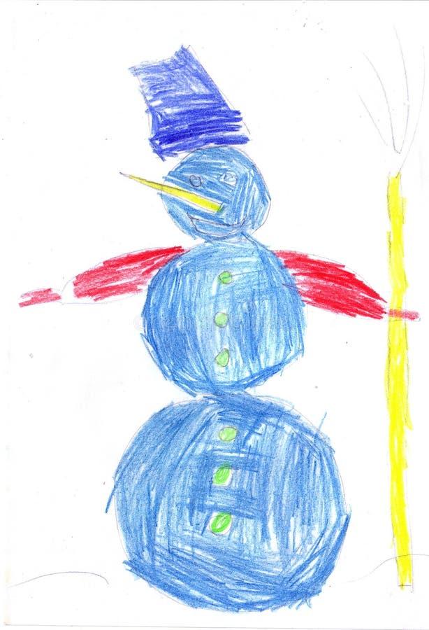 Снеговик ребенка рисуя на белой предпосылке бесплатная иллюстрация