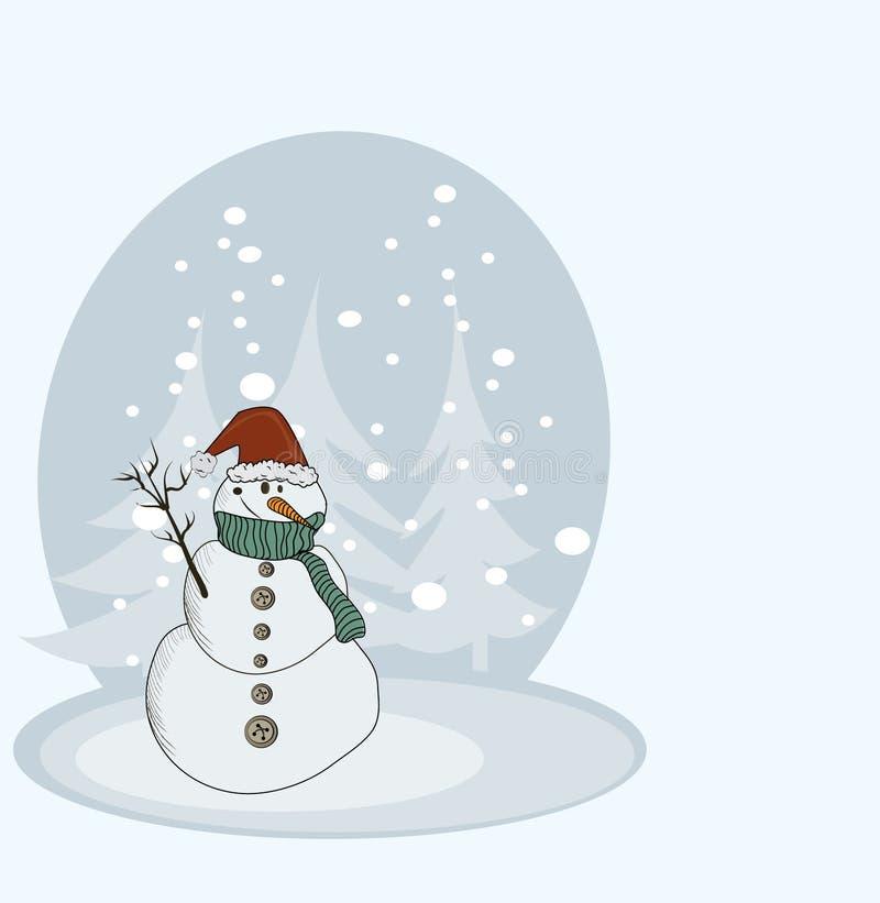 снеговик рождества карточки счастливый иллюстрация штока