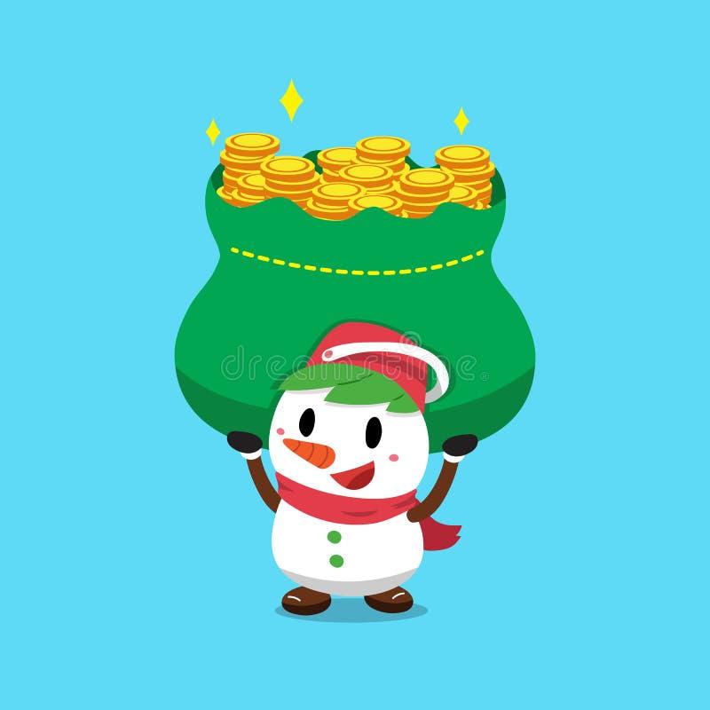 Снеговик рождества мультфильма вектора нося большую сумку денег иллюстрация вектора