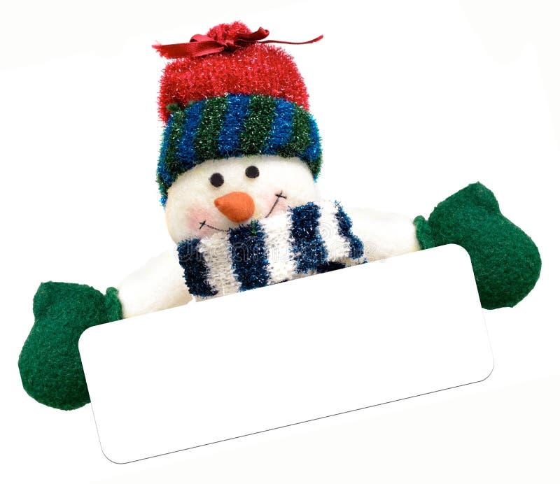 Снеговик рождества держа пустое знамя стоковые изображения rf