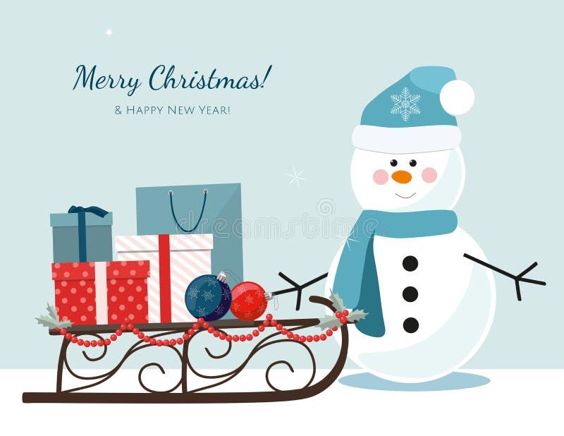 Снеговик, сани заполненные с подарочными коробками и хозяйственные сумки рождества бесплатная иллюстрация