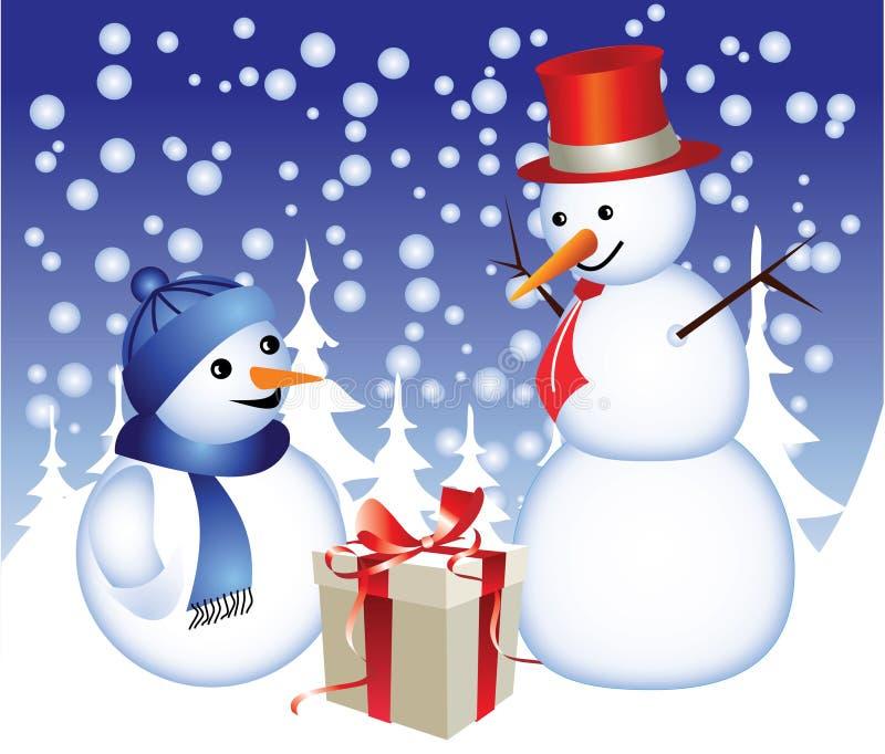 снеговик семьи иллюстрация вектора