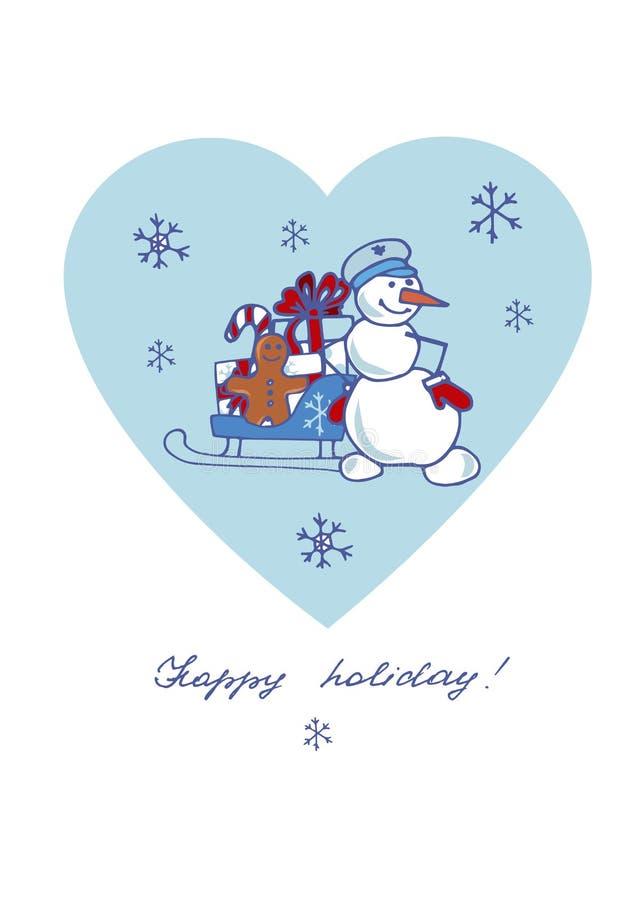 Снеговик, скелетон, подарки на предпосылке сердца иллюстрация штока