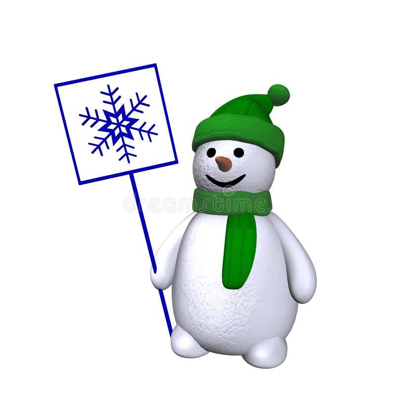 снеговик снежинки 3d бесплатная иллюстрация