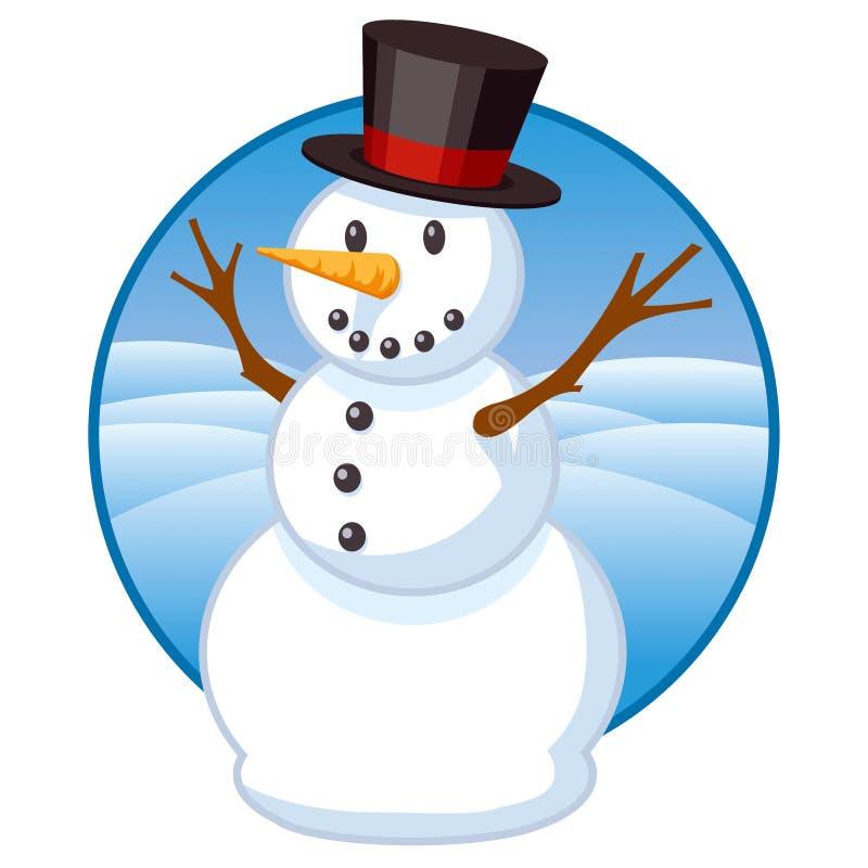 Снеговик с верхней шляпой иллюстрация вектора