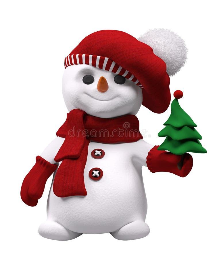 Снеговик с деревом Нового Года в переводе руки 3d иллюстрация вектора