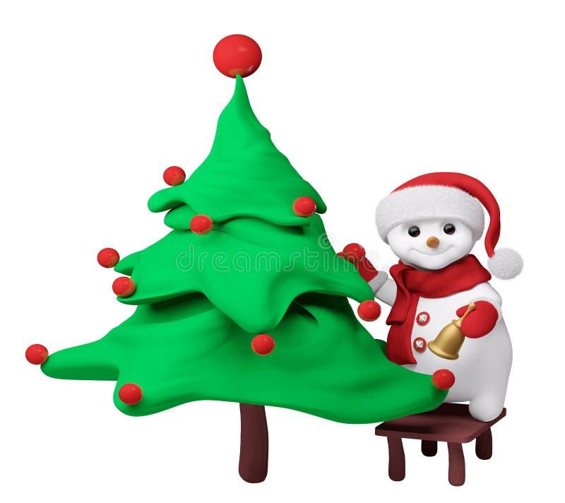 Снеговик с деревом Нового Года и колокол в renderi руки 3d иллюстрация вектора