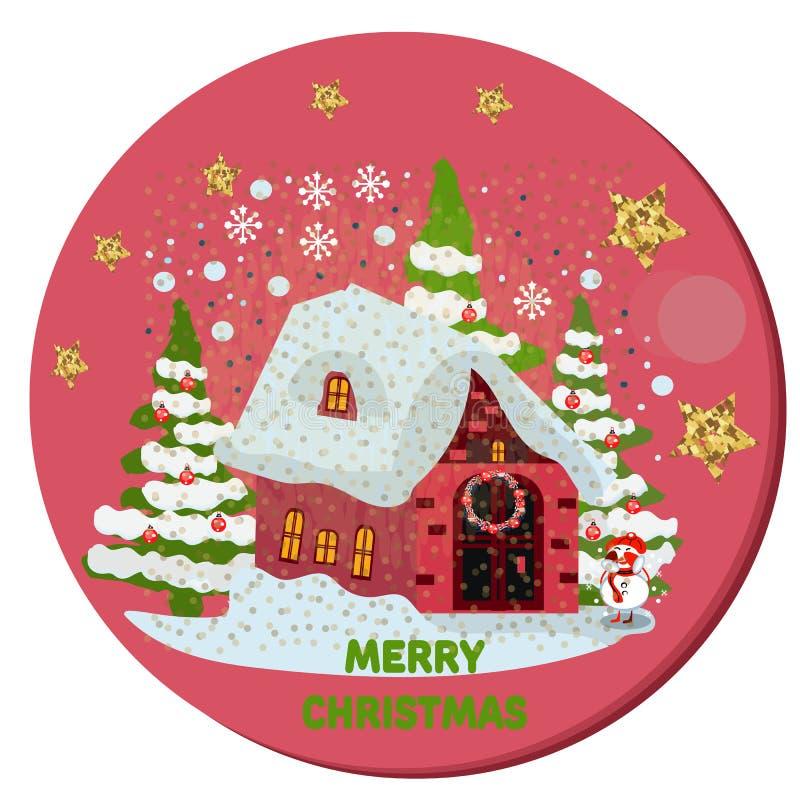 Снеговик с красными шарфом и шляпой против ландшафта зимы Поздравительная открытка Нового Года s рождества в винтажном стиле иллюстрация штока