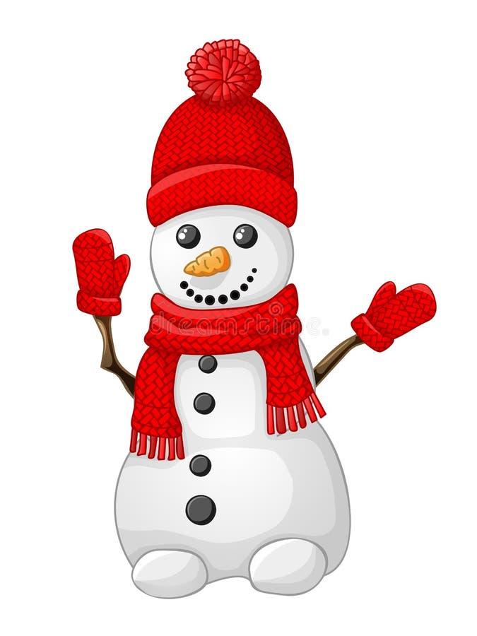 Снеговик с красными шляпой, шарфом и перчаткой изолированной на белизне иллюстрация штока