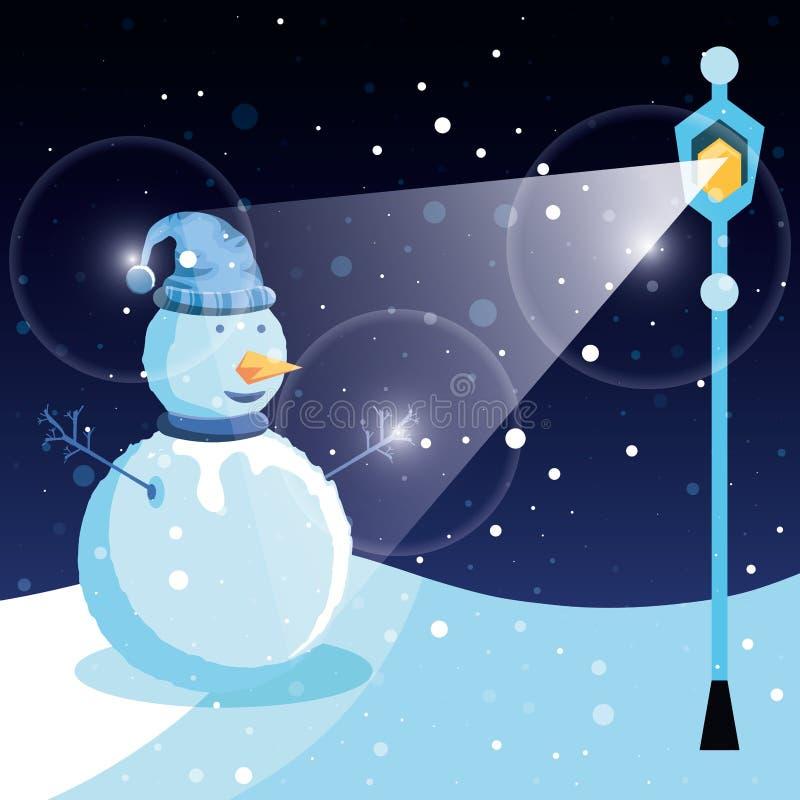Снеговик с ландшафтом и лампой зимы иллюстрация штока