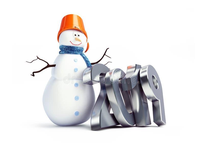 Снеговик С Новым Годом! 2019 на белой иллюстрации предпосылки 3D, перевод 3D иллюстрация вектора