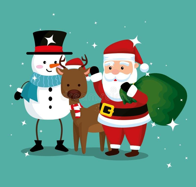 Снеговик с оленями и Санта Клаусом с сумкой иллюстрация штока