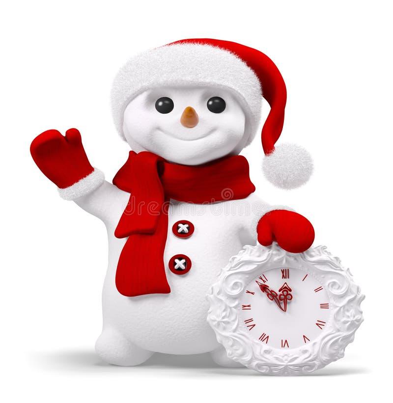 Снеговик с переводом часов 3d иллюстрация штока