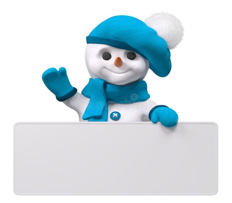 Снеговик с переводом 3d изолированным знаменем иллюстрация вектора