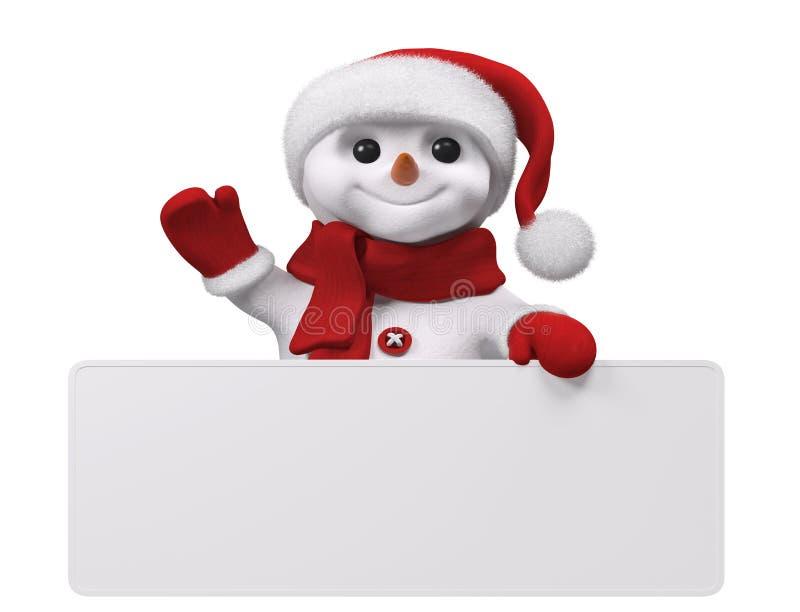 Снеговик с переводом 3d изолированным плакатом бесплатная иллюстрация