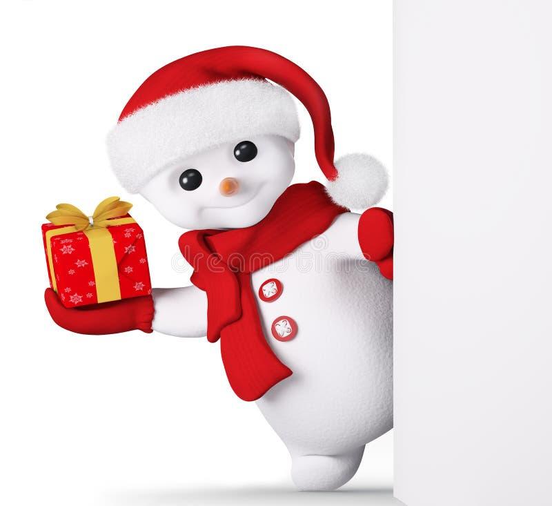 Снеговик с подарком Нового Года в руке и плакат 3d представляют иллюстрация штока