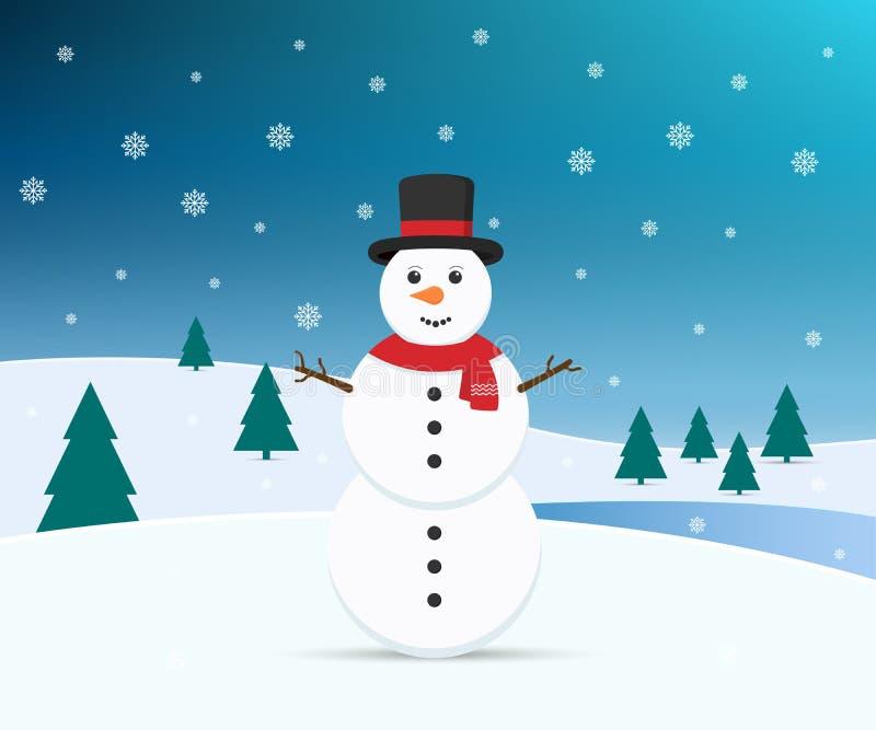 Снеговик с предпосылкой зимы также вектор иллюстрации притяжки corel иллюстрация штока