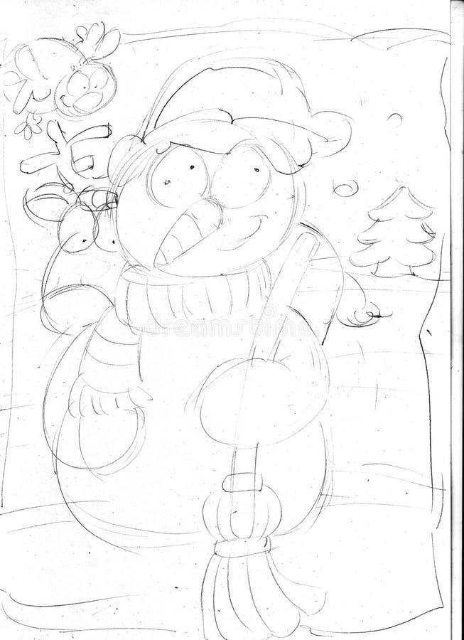 Снеговик с северным оленем, эскизами и карандашем делает эскиз к и doodles иллюстрация вектора