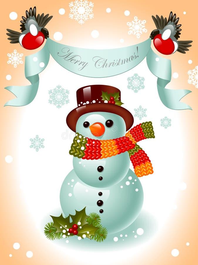 снеговик тесемки рождества веселый иллюстрация вектора