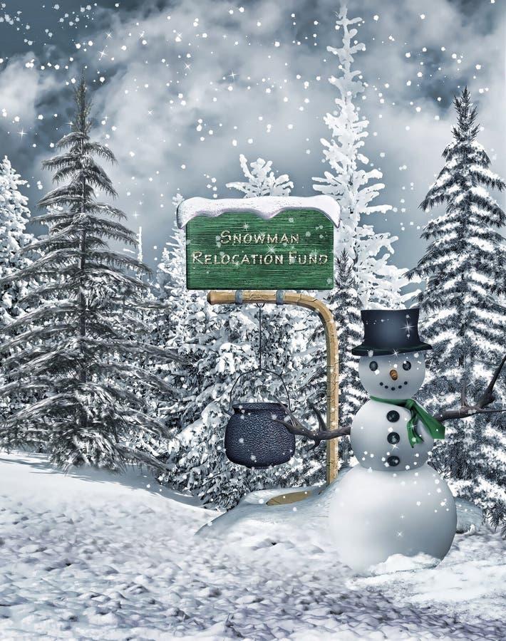Снеговик фантазии в лесе иллюстрация вектора