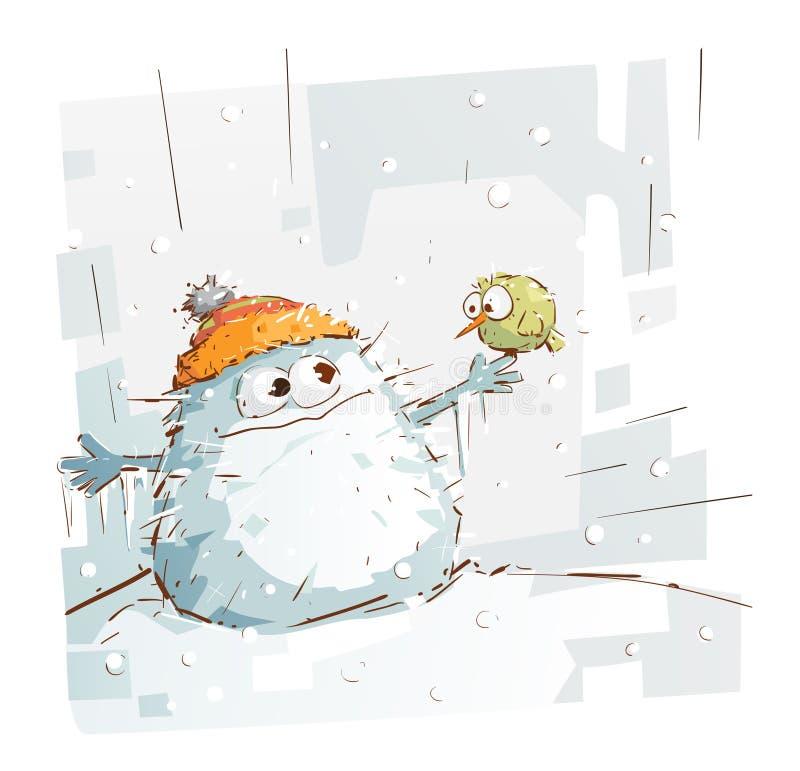 Снеговик чудовища и маленькая птица иллюстрация вектора