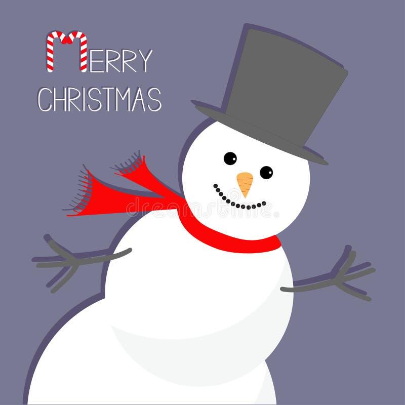 Снеговик шаржа в угле Лиловая предпосылка Дизайн с Рождеством Христовым рождественской открытки плоский бесплатная иллюстрация