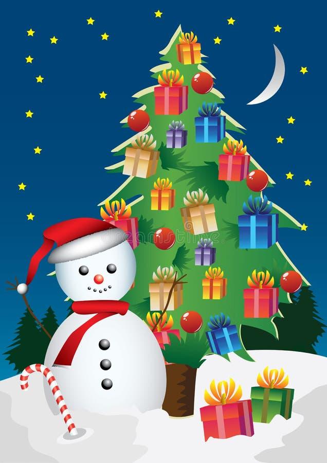Снеговик шильдика иллюстрация вектора