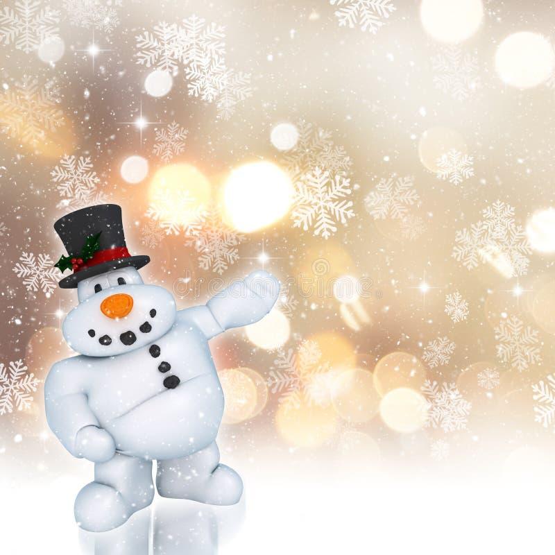 снеговик 3D на золотой предпосылке рождества иллюстрация вектора