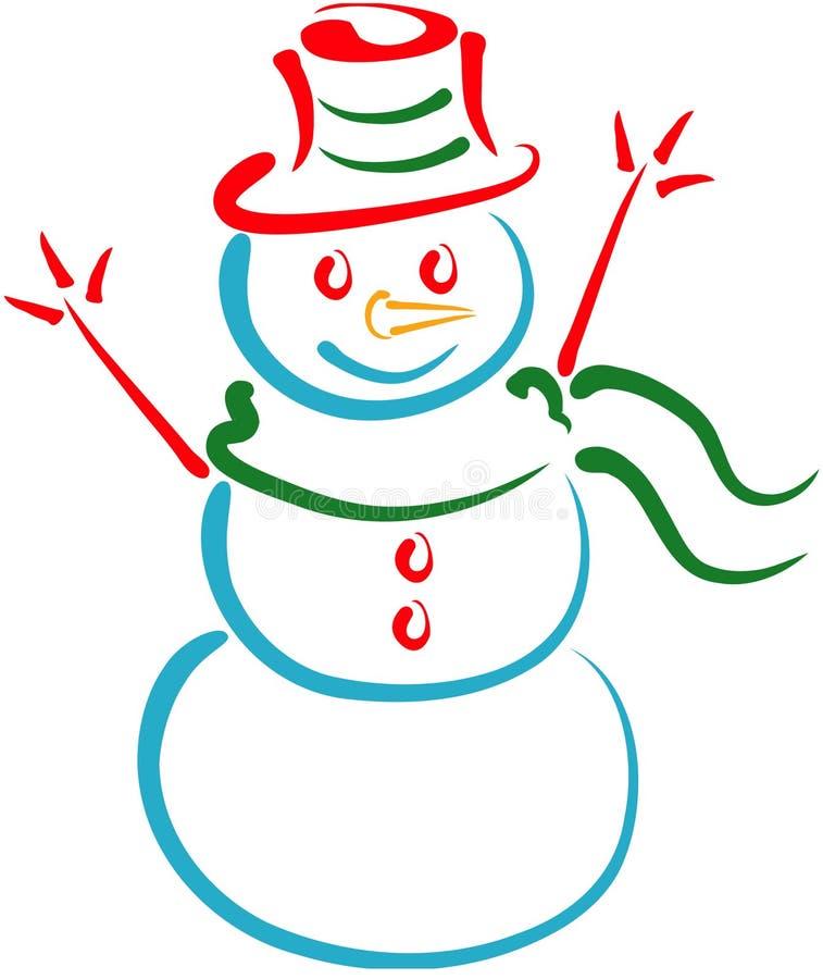 снеговик lineart иллюстрация вектора