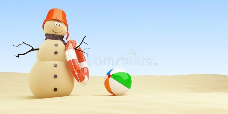 Снеговик Sandy на пляже Lifebuoy на белой иллюстрации предпосылки 3D, переводе 3D иллюстрация штока