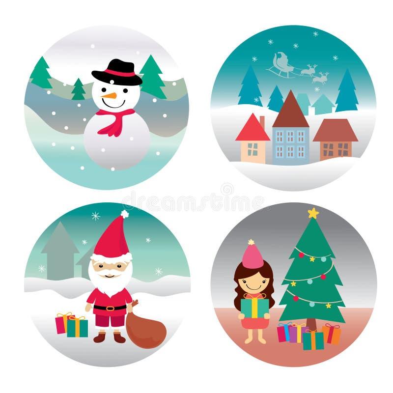 снеговик santa дома девушки claus иллюстрация вектора