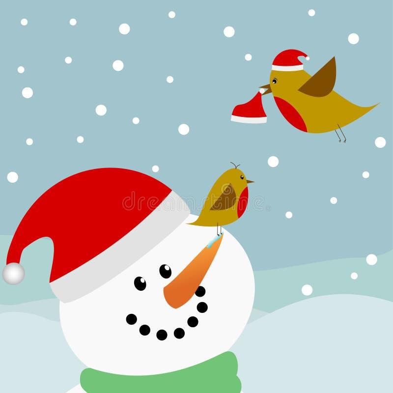 снеговик santa шлемов птиц бесплатная иллюстрация