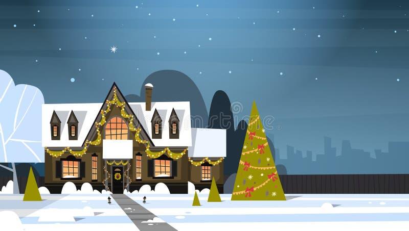 Снег взгляда городка пригорода зимы на домах с украшенной концепцией сосны, с Рождеством Христовым и счастливых Нового Года иллюстрация штока