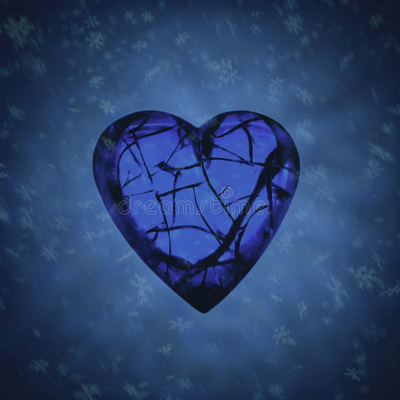 Снег взорвал разбитый сердце стоковая фотография