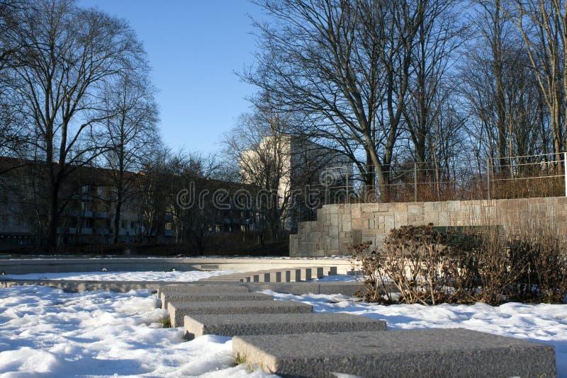 Снег в парке стоковое изображение rf