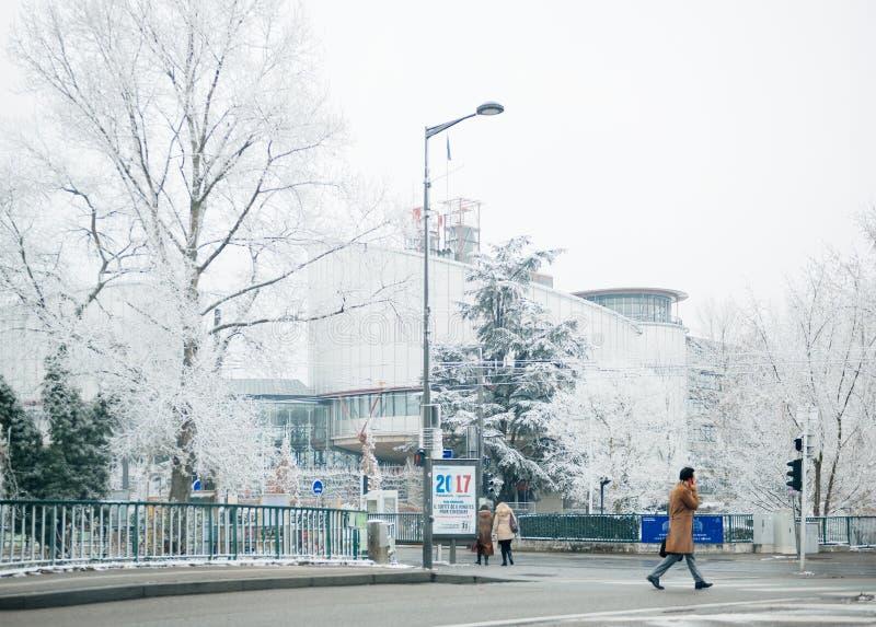 Снег зимнего дня Европейского суда по правам человека стоковое фото rf