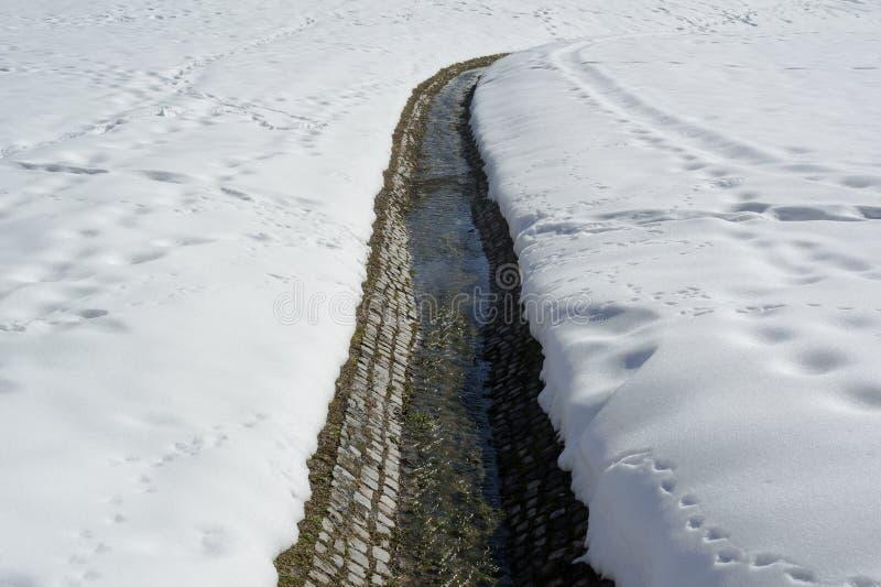 Снег и канал с водой стоковое изображение rf