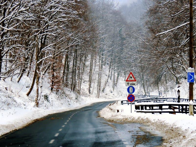 Снег на дороге, Хорватия стоковое изображение