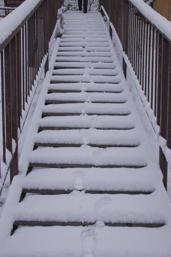 Снег покрыл лестницы стоковые изображения