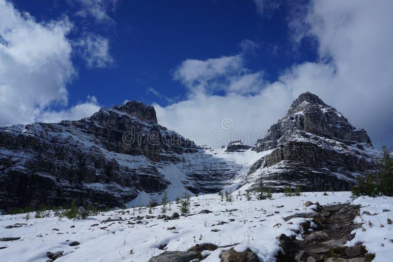 Снег покрыл канадские горы стоковое изображение