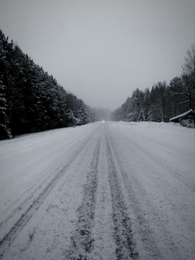 Снег покрыл шоссе северное Онтарио стоковая фотография rf