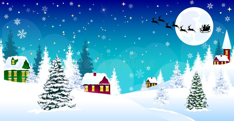 Снег Санта ночи деревни зимы рождества иллюстрация штока