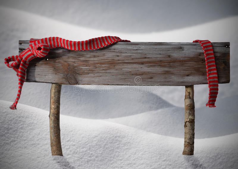 Снег экземпляра знака рождества Брайна, красная лента, снежинки стоковое изображение