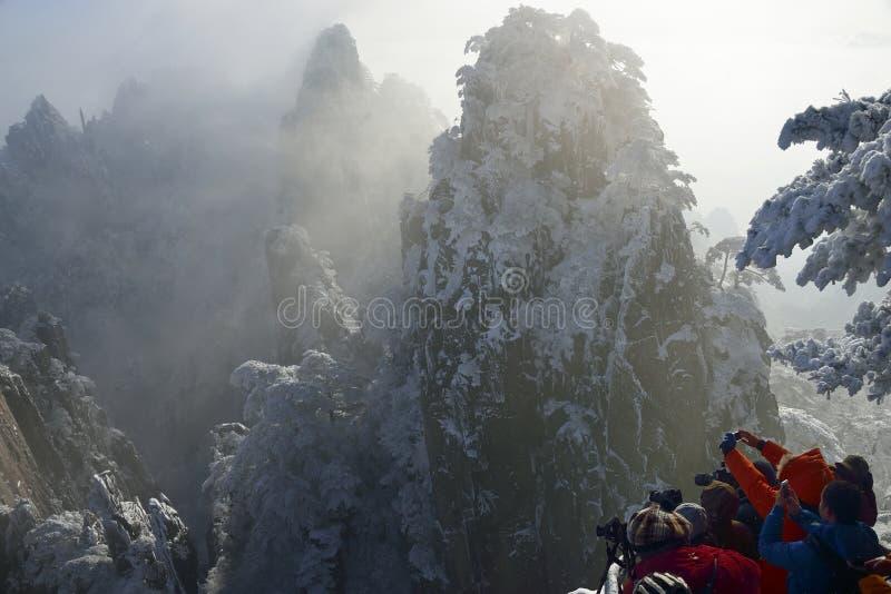 Снег Huangshan держателя стоковые фото