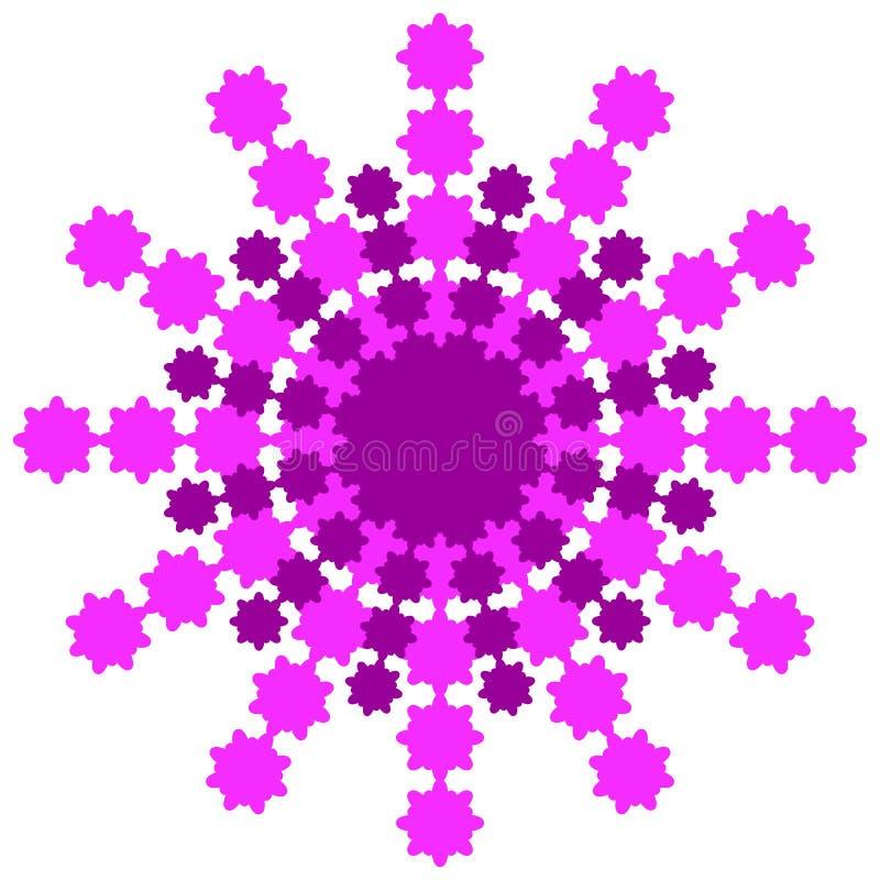 Снежинка от пинка и бургундских лучей на белой предпосылке бесплатная иллюстрация